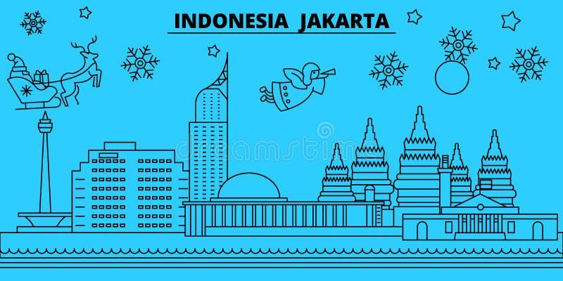 Orizzonte di vacanze invernali dell'Indonesia, Jakarta Il Buon Natale, buon anno ha decorato l'insegna con Santa Claus l'indonesi royalty illustrazione gratis
