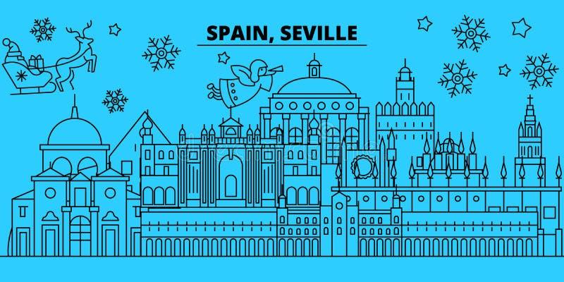 Orizzonte di vacanze invernali della Spagna, Siviglia Il Buon Natale, buon anno ha decorato l'insegna con Santa Claus La Spagna,  royalty illustrazione gratis
