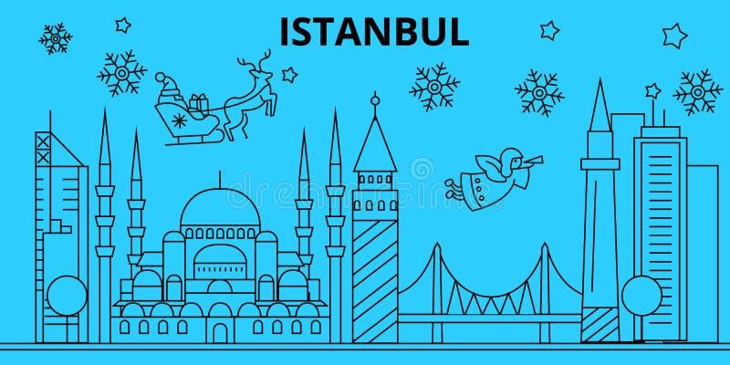 Orizzonte di vacanze invernali della Turchia, Costantinopoli Il Buon Natale, buon anno ha decorato l'insegna con Santa Claus La T illustrazione di stock