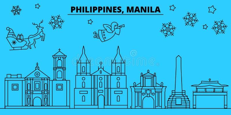 Orizzonte di vacanze invernali di Filippine, Manila Il Buon Natale, buon anno ha decorato l'insegna con Santa Claus royalty illustrazione gratis