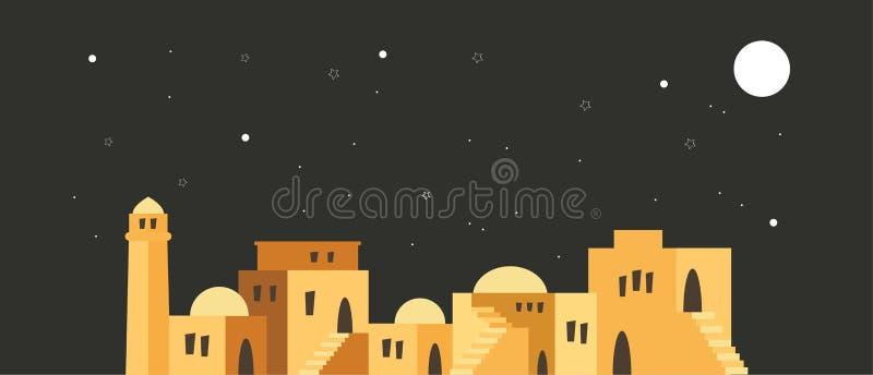 Orizzonte di vecchia città di Gerusalemme sopra una scena di notte illustrazione vettoriale