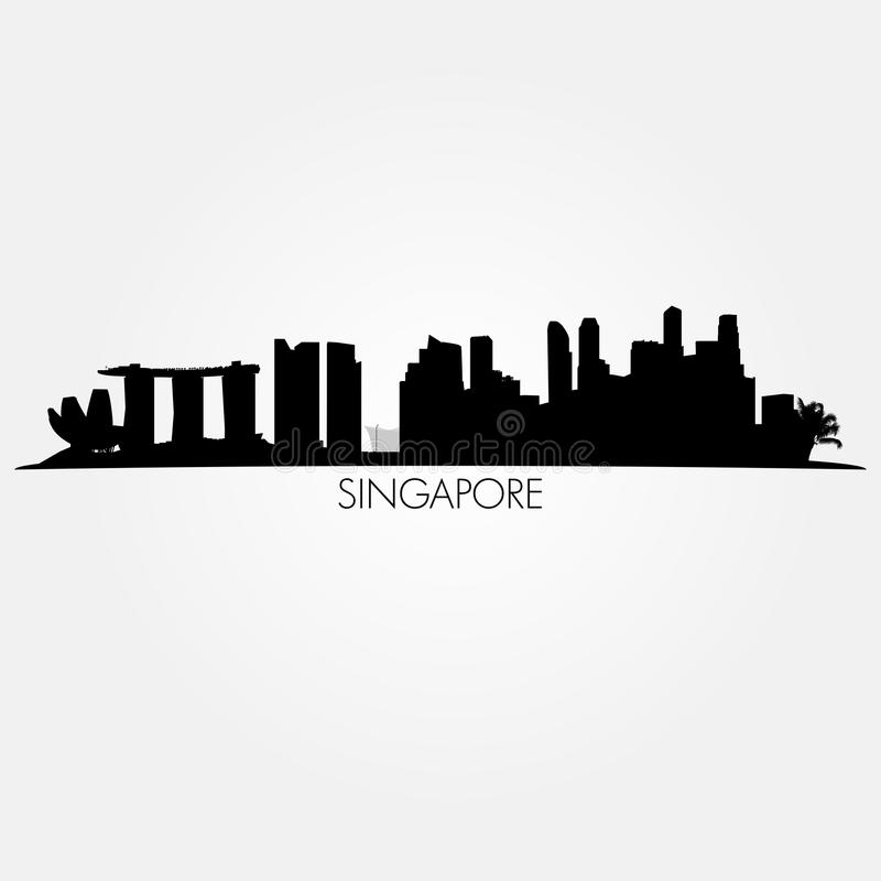 Orizzonte di vettore di Singapore Siluetta nera illustrazione di stock