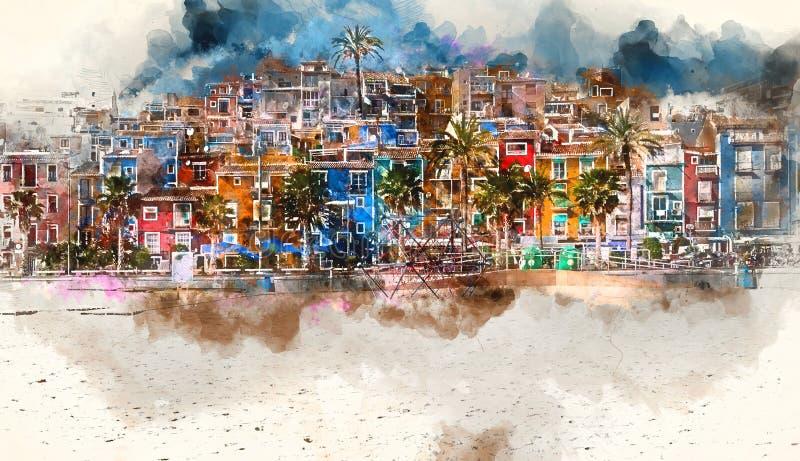 Orizzonte di Villajoyosa, pittura digitale dell'acquerello spain royalty illustrazione gratis