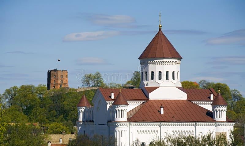 Orizzonte di Vilnius con la fortificazione immagini stock libere da diritti