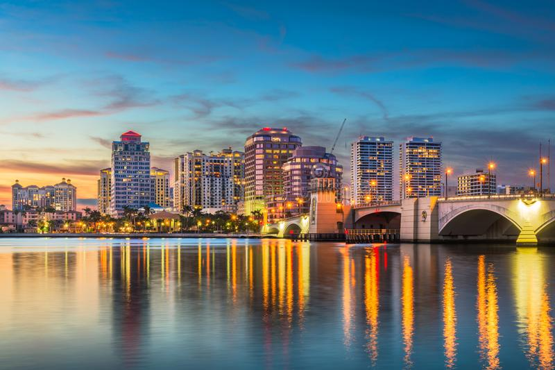 Orizzonte di West Palm Beach Florida immagine stock