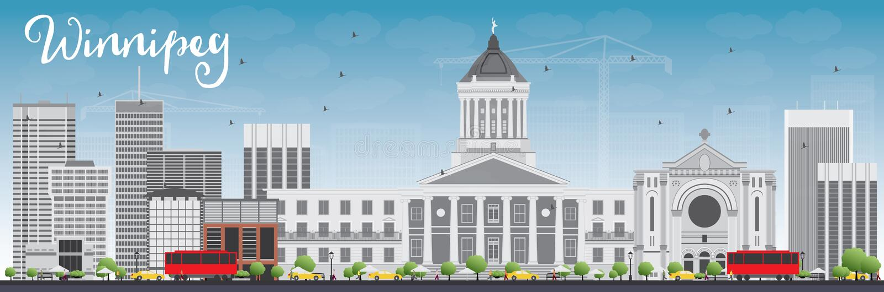 Orizzonte di Winnipeg con Gray Buildings e cielo blu royalty illustrazione gratis