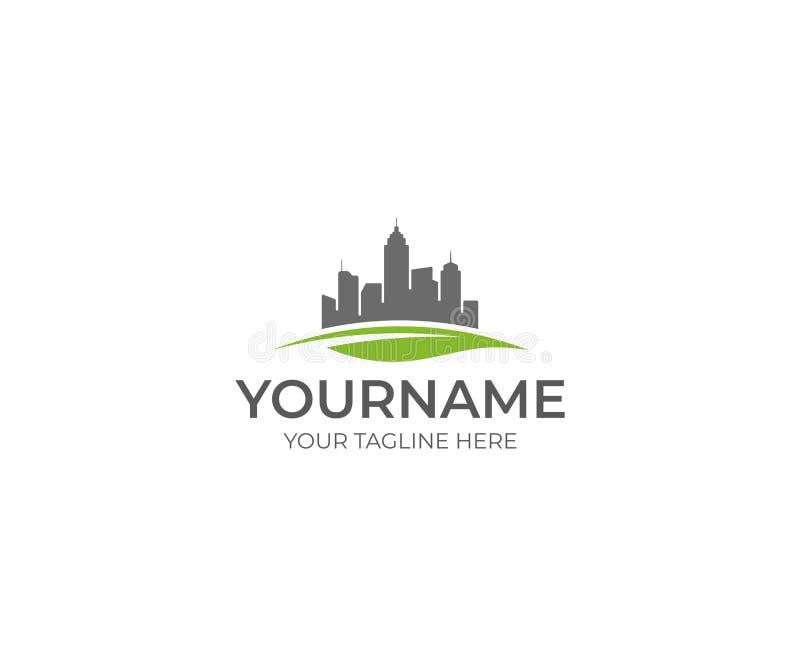 Orizzonte e foglia Logo Template Progettazione di vettore edifici di Eco illustrazione di stock