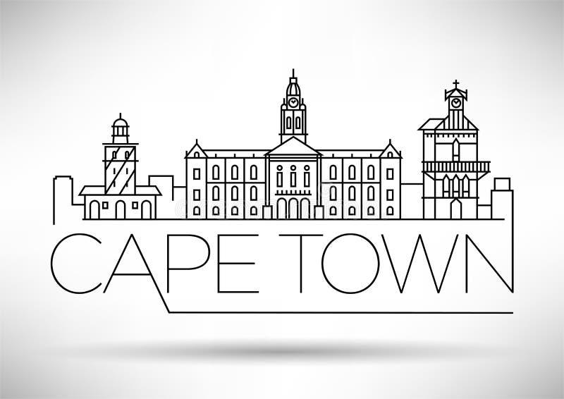 Orizzonte lineare della città minima di Cape Town con progettazione tipografica royalty illustrazione gratis
