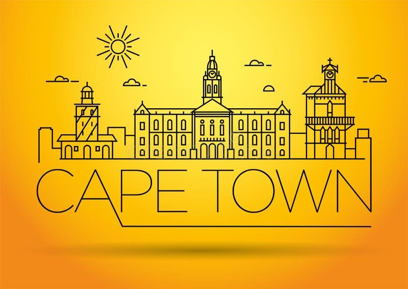 Orizzonte lineare della città minima di Cape Town con progettazione tipografica illustrazione vettoriale