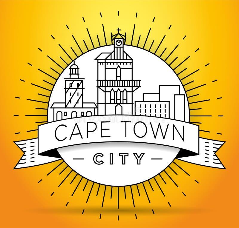 Orizzonte lineare della città minima di Cape Town con progettazione tipografica illustrazione di stock
