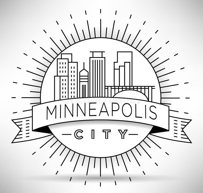 Orizzonte lineare minimo della città di Minneapolis con progettazione tipografica royalty illustrazione gratis