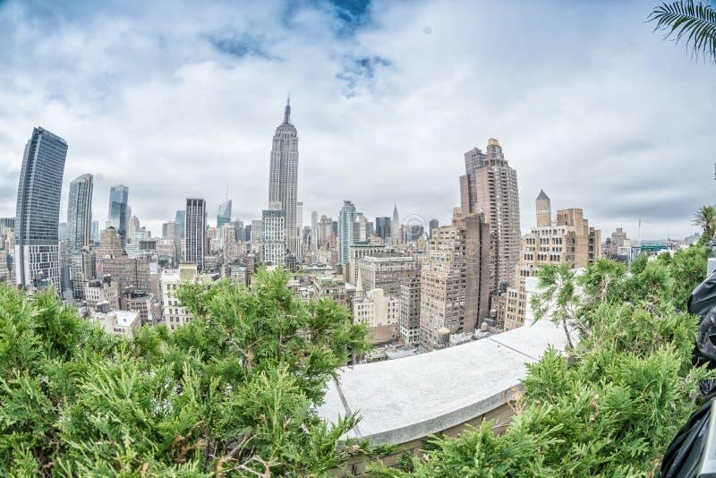 Orizzonte meraviglioso di New York, vista aerea immagine stock libera da diritti