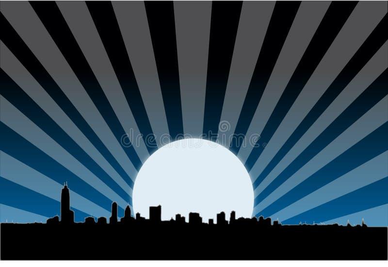 Orizzonte metropolitano della città entro la notte royalty illustrazione gratis