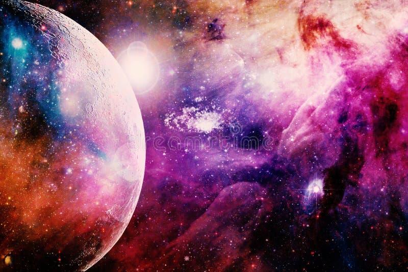 Orizzonte multicolore artistico del pianeta su un bello fondo della galassia illustrazione vettoriale