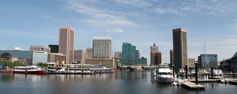 Orizzonte panoramico del porto interno di Baltimora Maryland immagine stock libera da diritti