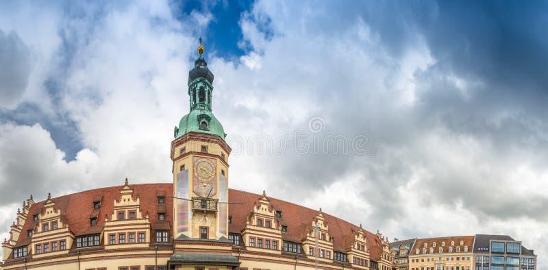 Orizzonte panoramico di Marketplatz, Lipsia - Germania fotografia stock libera da diritti