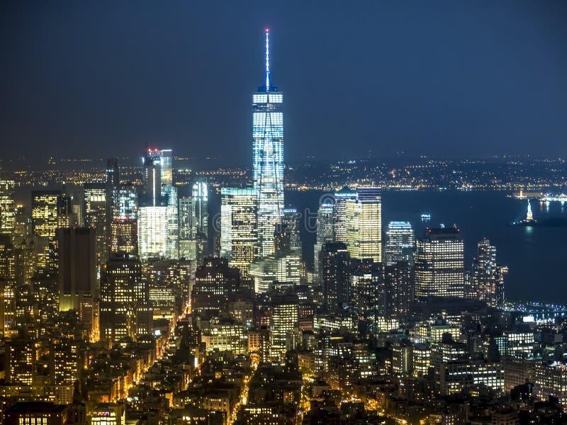 Orizzonte recente di tramonto di New York fotografia stock libera da diritti