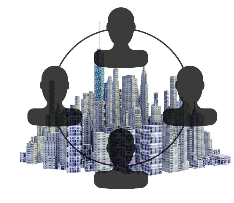 Orizzonte reso della città 3d con l'organigramma royalty illustrazione gratis