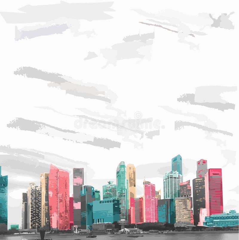 Orizzonte Singapore nei colori dell'alba illustrazione vettoriale