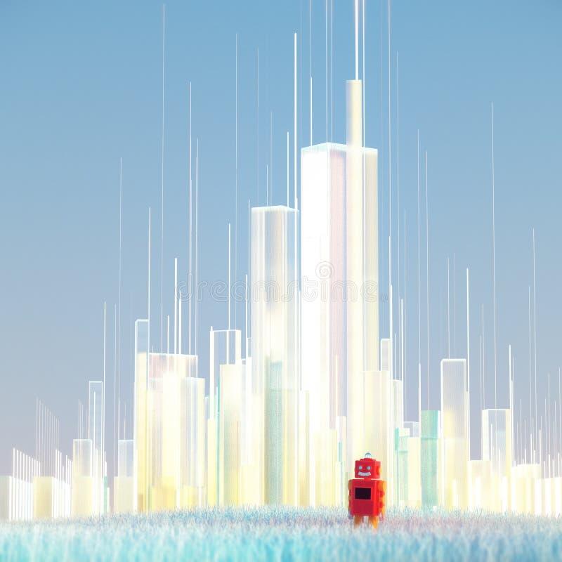 Orizzonte traslucido futuristico della città e robot rosso del giocattolo in erba blu 3d psichedelici rendono illustrazione di stock