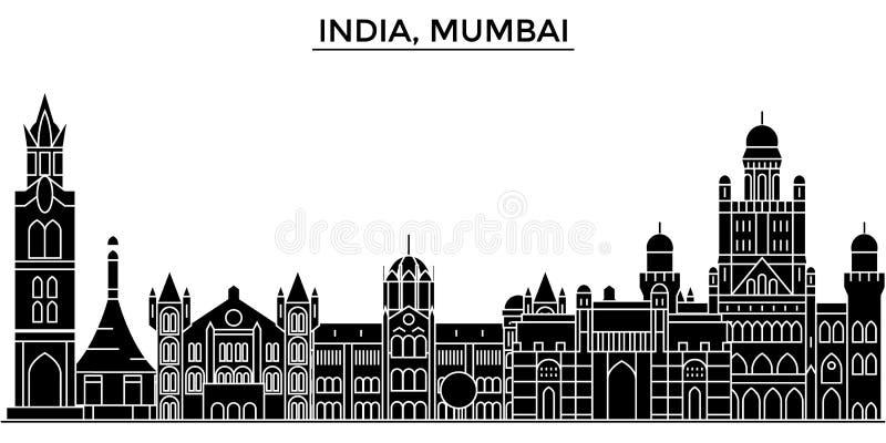 Orizzonte urbano di architettura dell'India, Mumbai con i punti di riferimento illustrazione vettoriale