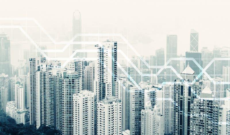 Orizzonte urbano moderno Comunicazioni globali e rete fotografia stock