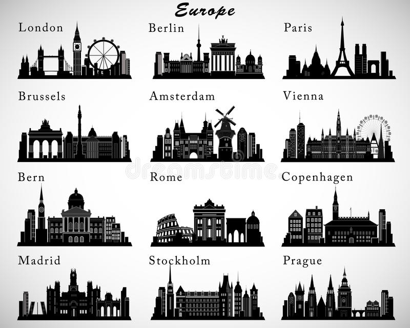 Orizzonti europei delle città messi Siluette di vettore royalty illustrazione gratis