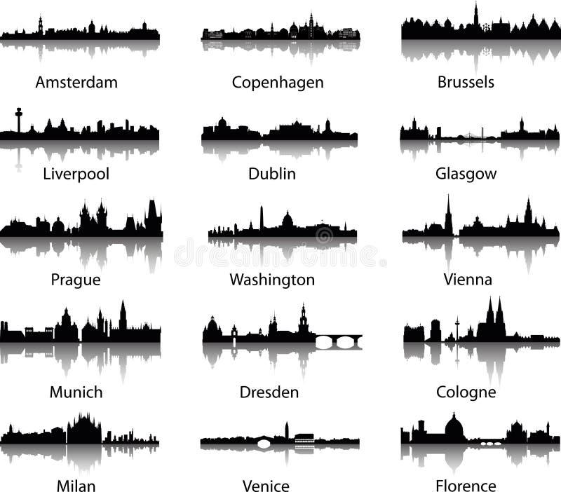 Orizzonti panoramici della città illustrazione di stock
