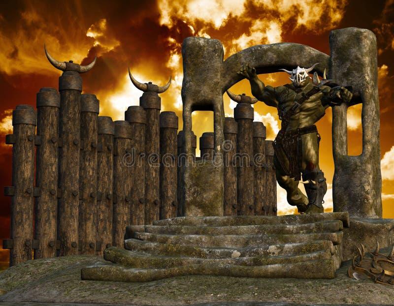 Ork em um portal ilustração do vetor