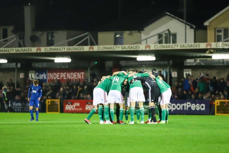 Ork stad FC vs Waterford FC på drejare som är arga för ligan av Irland första uppdelning arkivbild