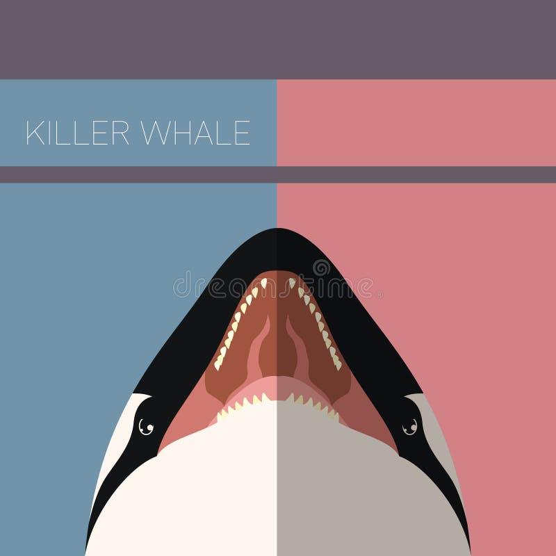 Orka vlakke prentbriefkaar stock illustratie