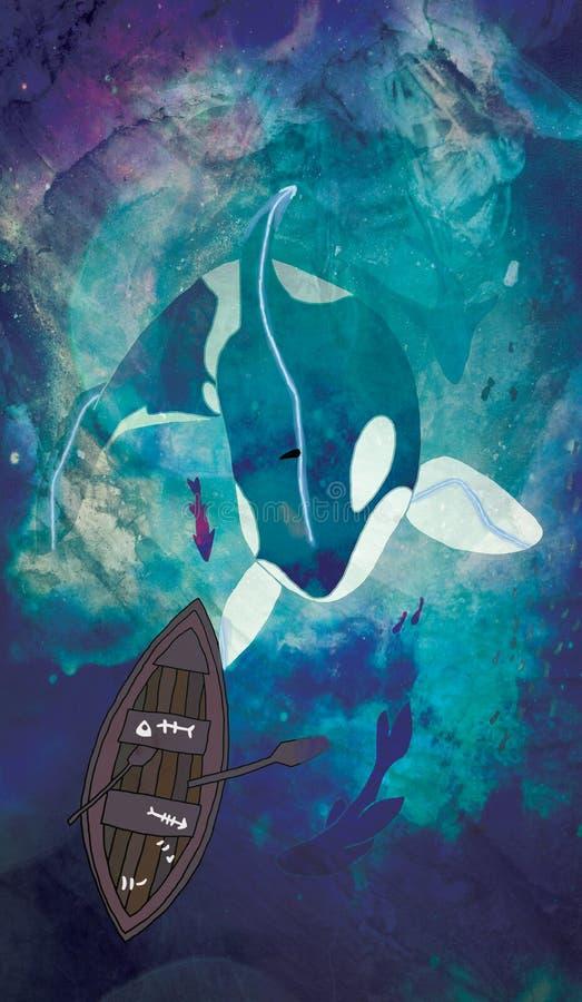 Orka zabójcy łodzi rybackiej i wieloryba ilustracja fotografia stock
