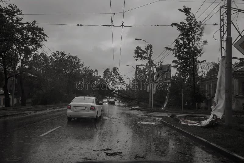 Orkaan in de stad van Taganrog, Rostov-gebied, Russische Federatie 24 September, 2014 royalty-vrije stock foto's