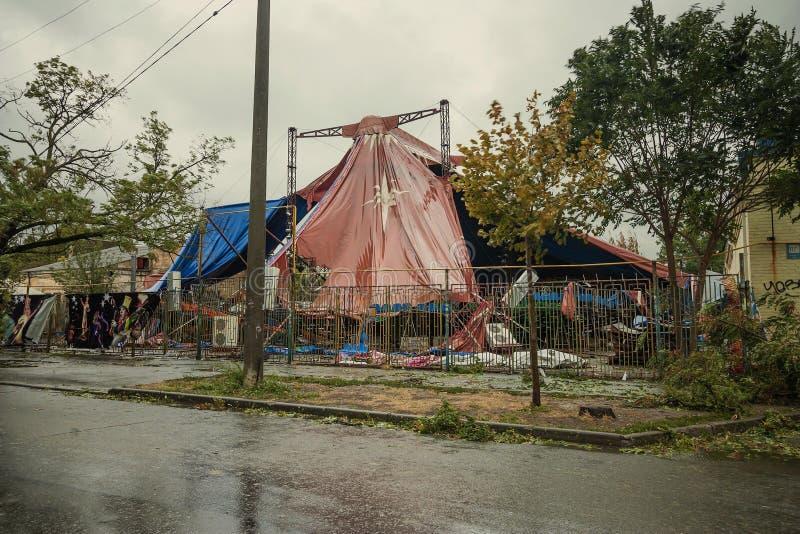 Orkaan in de stad van Taganrog, Rostov-gebied, Russische Federatie 24 September, 2014 royalty-vrije stock afbeelding