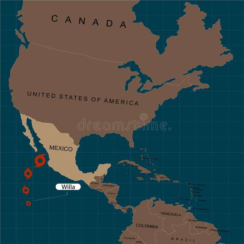 Orkaan Willa Orkaan - onweer Willa naar Mexico Orkaanschade Grondgebied van de Verenigde Staten van Amerika Vectorillustrati vector illustratie