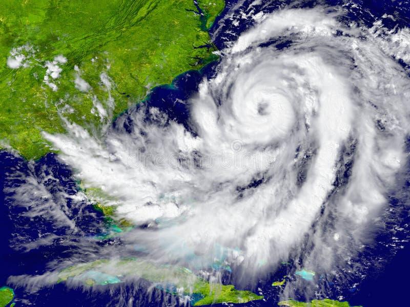 Orkan över Florida och Kuba royaltyfri illustrationer