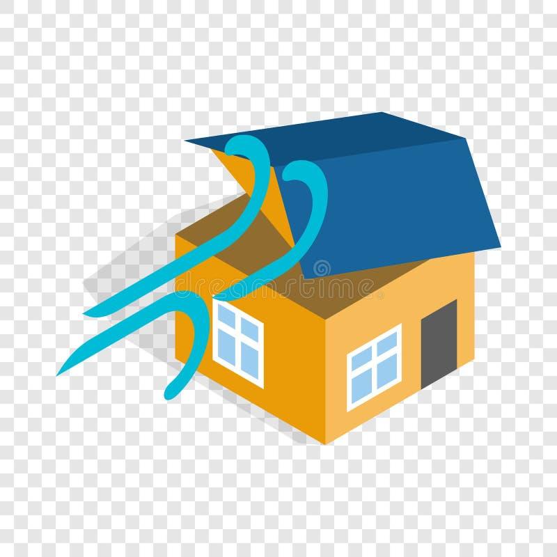 Orkan förstörd isometrisk symbol för hus stock illustrationer
