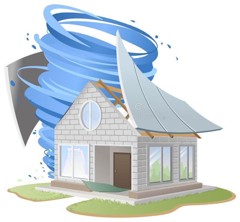 Orkan förstört tak av huset stock illustrationer