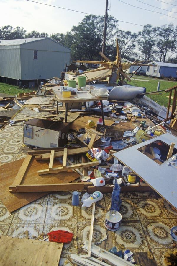 OrkanAndrew skada, Jeanerette, LAområde - nationell katastrof royaltyfri fotografi