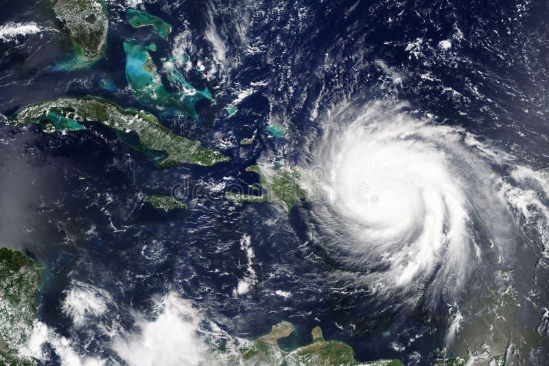 Orkanen Maria gör landfall i Puerto Rica i September 2017 - beståndsdelar av detta bilden som möbleras av NASA royaltyfria foton