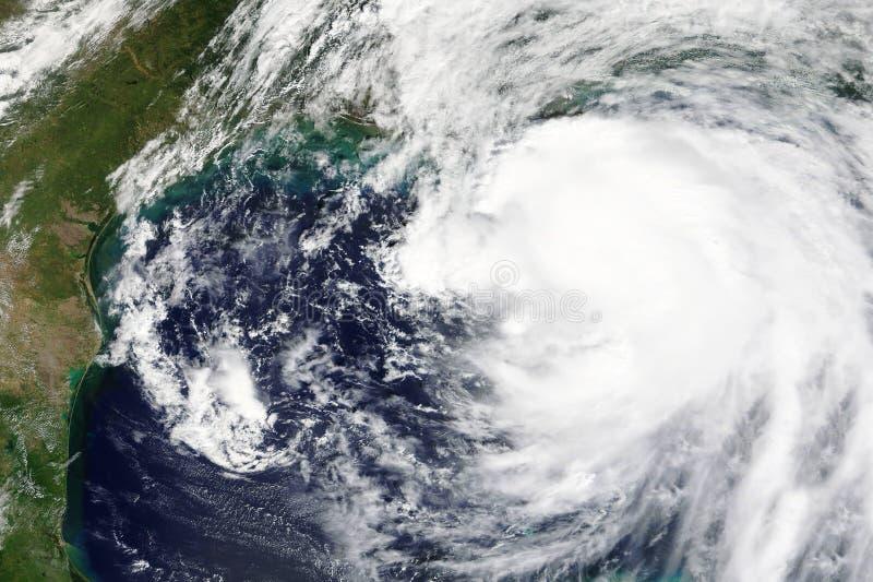 Orkanen Nate heading in mot New Orleans, Lousiana i Oktober 2017 - beståndsdelar av detta bilden som möbleras av NASA arkivbild