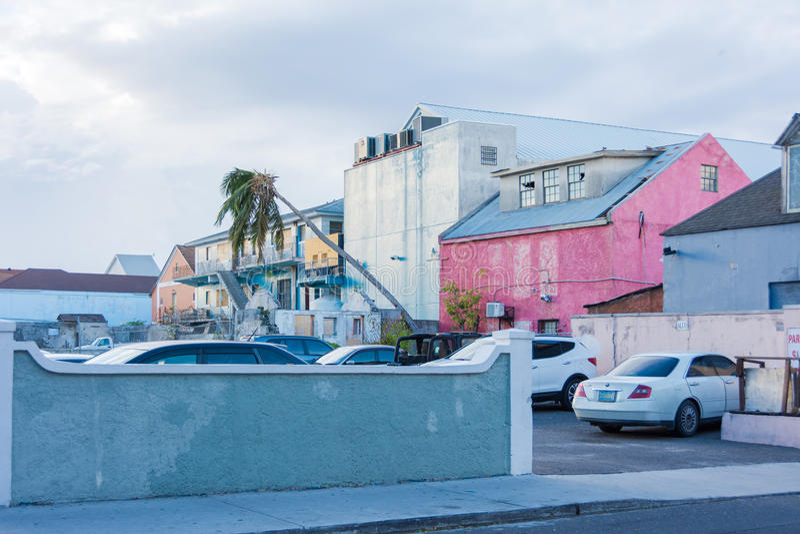 OrkanMatthew skada i Nassau, Bahamas royaltyfri bild