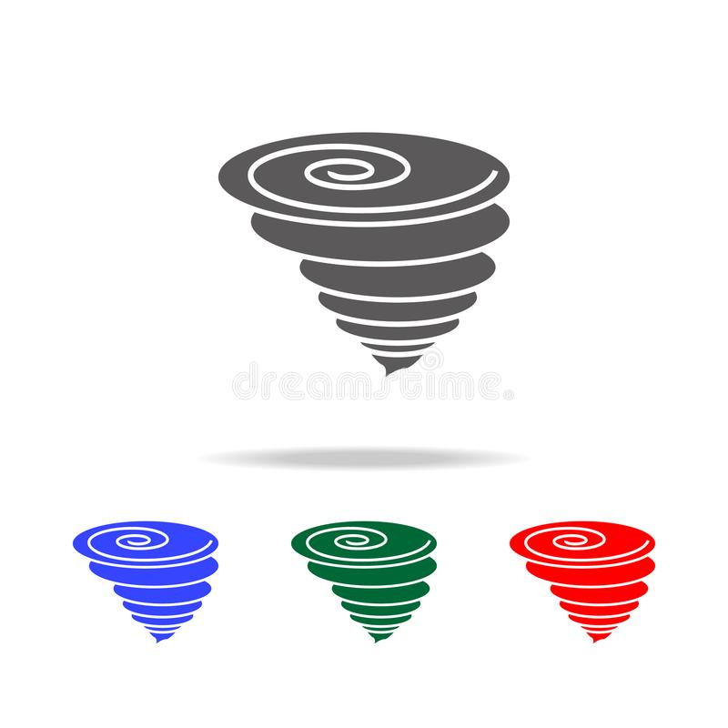 Orkansymbol Beståndsdelar av väder i mång- kulöra symboler Högvärdig kvalitets- symbol för grafisk design Enkel symbol för websit royaltyfri illustrationer