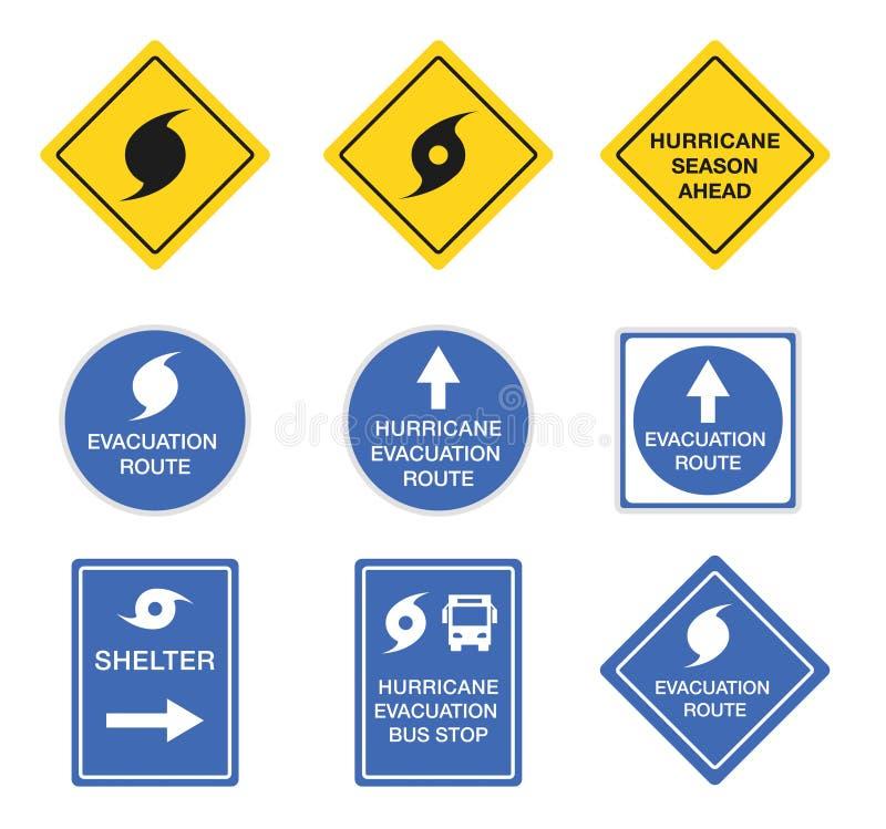 Orkanvägmärken, vakna vektorsymboler för fara royaltyfri illustrationer