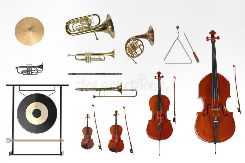 Orkest muzikale instrumenten stock illustratie