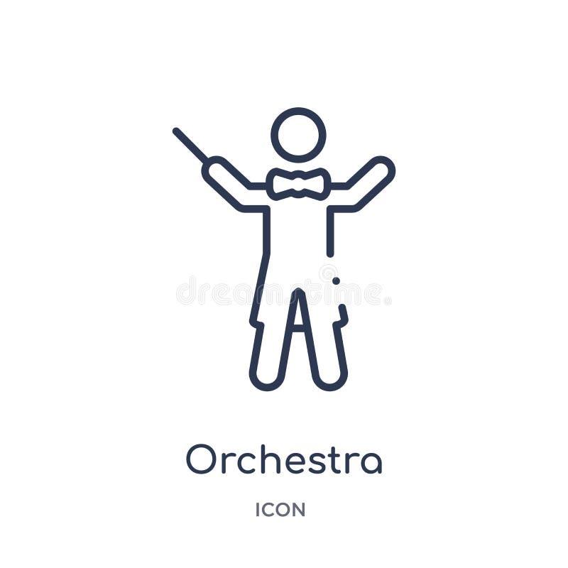 orkesterdirektör med pinnesymbolen från musiköversiktssamling Tunn linje orkesterdirektör med pinnesymbolen som isoleras på vit stock illustrationer