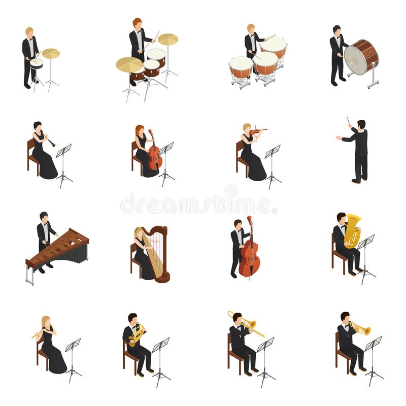 Orkesterfolkuppsättning stock illustrationer