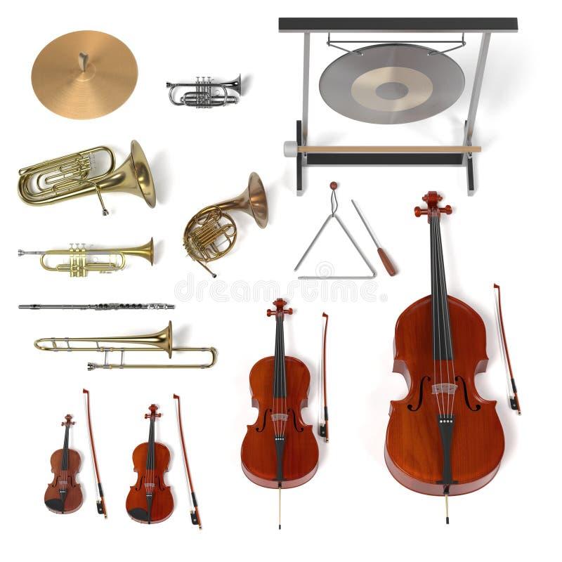 Orkestermusikinstrument royaltyfri illustrationer
