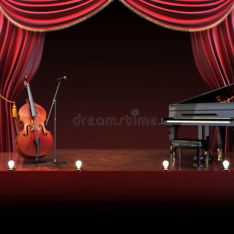 Orkestsymfonie als thema gehad stadium stock illustratie