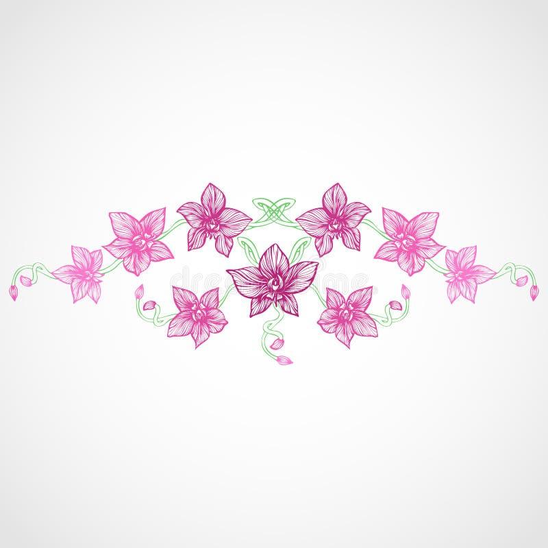 Orkidékaraktärsteckning stock illustrationer
